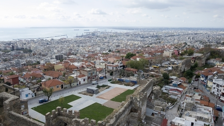 koule: Aerial panoramic view of the old Byzantine Castle, the port and the rest Thessaloniki city, Greece.