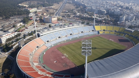 Aerial Panoramic View of the Kaftatzoglio Stadium in Thessaloniki, Greece photo