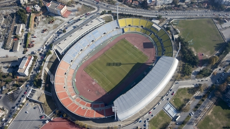 stadium lights: Aerial Panoramic View of the Kaftatzoglio Stadium in Thessaloniki, Greece Stock Photo