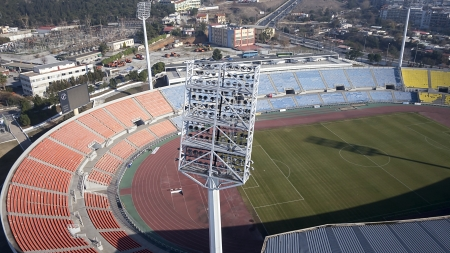 Aerial close-up view of stadium lights at Kaftatzoglio Stadium in thessaloniki, Greece. photo