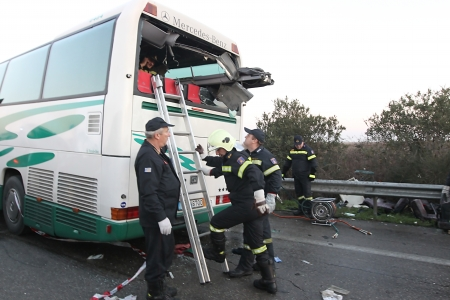 THESSALONIKI,GREECE - JAN,07: A truck hit a bus which was carrying many passengers on the Egnatia motorway in Malgara on  07January, 2014. Two women died and many others where injured