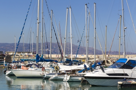 HERAKLION, GREECE - SEPT 29. Fishing boats in the harbor of Heraklion on September 29, 2013. The city is with 173.450 inhabitants the capital on Crete