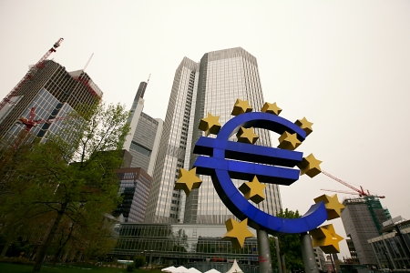 FRANKFURT AM MAIN, GERMANY - APRIL 30: The world famous building of the European Central Bank. on April 30, 2013 in Frankfurt am Main, Germany