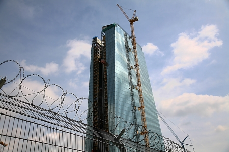 FRANKFURT, GERMANY - APRIL 24: The new European Central Bank Headquarters under construction on April 24, 2013 in Frankfurt, Germany. The 500 million euro project will be completed in mid 2014