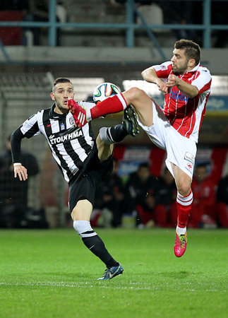 perez: CHANIA, GREECE - FEB 2 : Lucas Perez of PAOK (L) in action with of Kostas Kaznaferis Platanias (R) during the Greek Superleague game Platanias vs Paok on February 2, 2014.