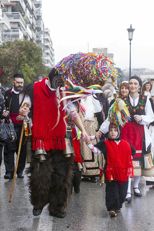 "ethnographic: THESSALONIKI, GREECE - FEBRUARY 23, 2014 : The Folklife and Ethnological Museum of Macedonia-Thrace organized the first European assembly ""Bell Roads"" and a bell bearers parade in Thessaloniki.  Editorial"