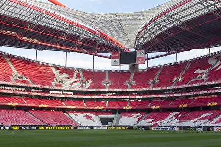 LISBON, PORTUGAL FEB - 27, 2014 : Interior view of the empty Estadio da Luz on February 27, 2014. Estadio da Luz is the home base of the football team Benfica SL.