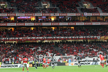 LISBON, PORTUGAL FEB - 27, 2014 : Interior view of the full Estadio da Luz during the UEFA Europa League game Benfica SL vs Paok on February 27, 2014.