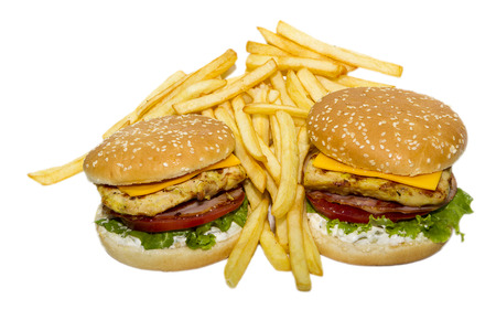 pomme: Hamburger and french fries