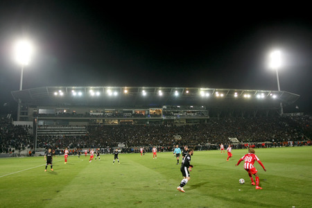 THESSALONIKI, GREECE APRIL 16, 2014 : Wide view of the game and the full stadium during the Greek Cup Semi Final match PAOK vs Olympiacos