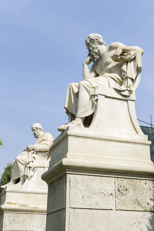 statue of Plato and Socrates  from the Academy of Athens,Greece
