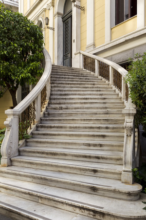 outside marble staircase in a neoclassical building of Greece in Athens