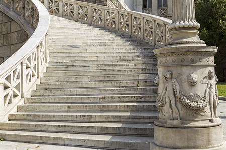 outside marble staircase in National Library of Greece in Athens