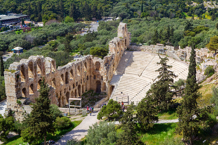 The Odeon of Herodes Atticus on the south slope of the Acropolis in Athens, Greece.