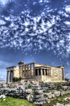 Caryatids in Erechtheum from Athenian Acropolis,Greece.HDR image. photo