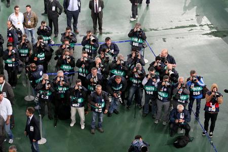 ATHENS, GREECE APRIL 26, 2014 : TV Media and Photographers during the Greek Cup Final match Paok vs Panathinaikos