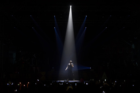 THESSALONIKI, GREECE, MAY 8 2014: Sakis Rouvas performing live on stage for the Ace of Heart tour at Sports arena in Thessaloniki.