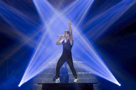 vocalist: THESSALONIKI, GREECE, MAY 8 2014: Sakis Rouvas performing live on stage for the Ace of Heart tour at Sports arena in Thessaloniki.