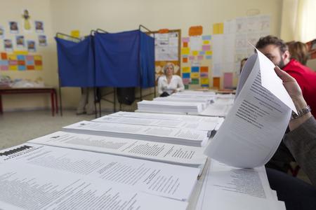 councils: Salonicco, Grecia, 18 maggio 2014: In evidenza durante le elezioni municipali e regionali in Grecia. 10 milioni di greci hanno diritto al voto di Domenica per eleggere sindaci e consigli comunali.