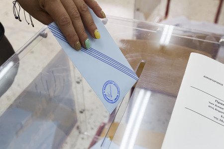 THESSALONIKI, GREECE, MAY 18, 2014  Highlights during the municipal and regional elections in Greece  10 million Greeks are eligible to vote on Sunday to elect mayors and town councils