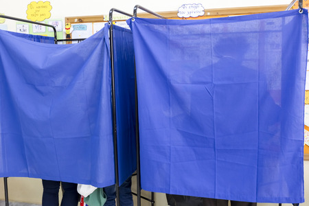eligible: Salonicco, Grecia, 18 maggio 2014: In evidenza durante le elezioni municipali e regionali in Grecia. 10 milioni di greci hanno diritto al voto di Domenica per eleggere sindaci e consigli comunali.