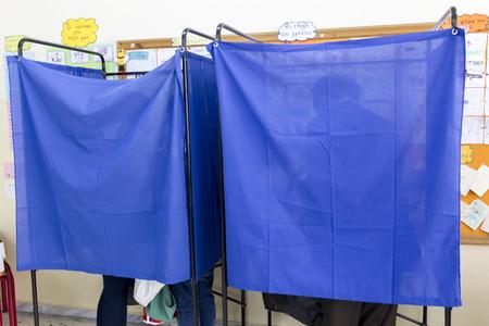 councils: SALONICCO, GRECIA, 18 maggio 2014: Sintesi durante le elezioni municipali e regionali in Grecia. 10 milioni di greci hanno diritto al voto di Domenica per eleggere sindaci e consigli comunali.