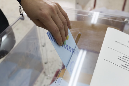 THESSALONIKI, GREECE, MAY 18, 2014: Highlights during the municipal and regional elections in Greece. 10 million Greeks are eligible to vote on Sunday to elect mayors and town councils.