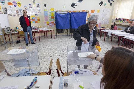 councils: THESSALONIKI, GREECE, MAY 18, 2014: Highlights during the municipal and regional elections in Greece. 10 million Greeks are eligible to vote on Sunday to elect mayors and town councils.