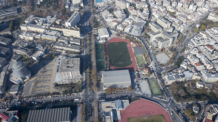 koule: Aerial panoramic view of the Thessaloniki International Fair  TIF , the Universities and the rest of Thessaloniki city, Greece  Stock Photo