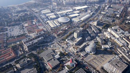 Aerial panoramic view of the Thessaloniki International Fair  TIF , the Universities and the rest of Thessaloniki city, Greece  Stock Photo
