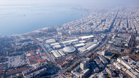 koule: Aerial panoramic view of the Thessaloniki International Fair  TIF , the Universities, the port and the rest of Thessaloniki city, Greece