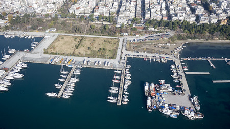 THESSALONIKI, GREECE, DECEMBER 29, 2013  Aerial panoramic view of Thessaloniki Marina with Luxury Yachts, Greece