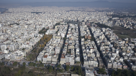 Aerial panoramic view of Thessaloniki city, Greece