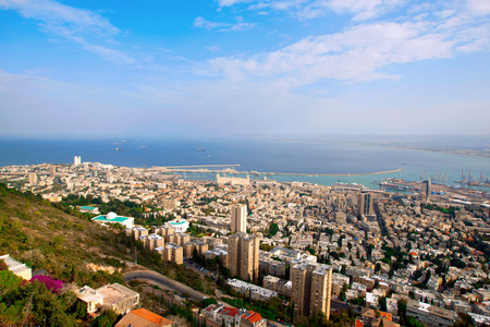 City and port of Haifa from above, Israel  photo