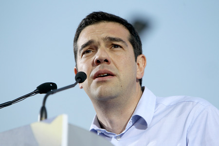 THESSALONIKI, GREECE - MAY 21, 2014: Alexis Tsipras leader of Syriza party (European Left) giving pre-election speech to the people of Macedonia north Greece on May 21, 2014 in Thessaloniki, Greece.  Editöryel