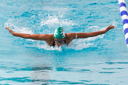 THESSALONIKI, GREECE- MAY 24, 2014: female participant from Balkan countries competing in Makedonian swimming race in Thessaloniki, Greece.  Editorial