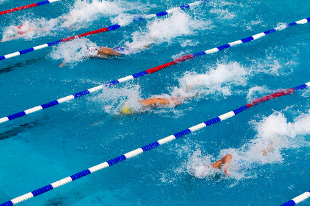 laps: male participants from Balkan countries competing in Makedonian swimming race in Thessaloniki, Greece.