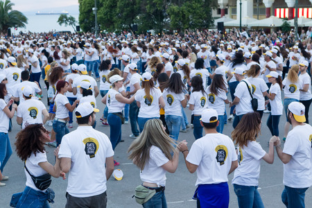 danced: THESSALONIKI, GREECE- JUNE 1, 2014: Rueda de casino flash mob, particular type of Salsa held in Thessaloniki in order to break the Guinness World Record. 1102 people danced in Aristotelous square.