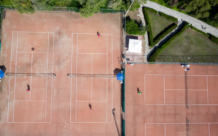 Aerial view of tennis courts  photo