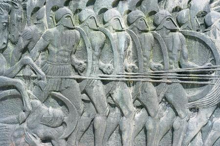 Grec ancien plaque ressemblent à monument Alexandre le Grand à Thessalonique, Grèce