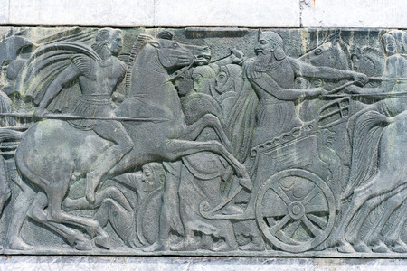 alexander great: Greek ancient alike plaque at Great Alexander monument at Thessaloniki, Greece