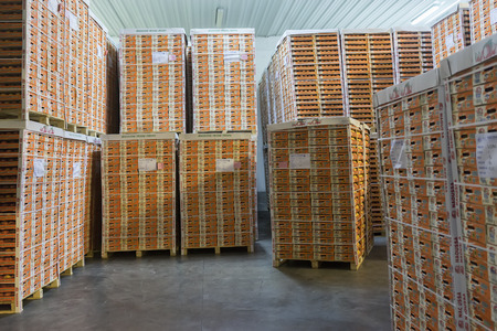 cooperative: NAOUSSA GREECE- AUGUST 20 2014: Products of Agricultural Cooperative of Naoussa Greece stacked in boxes. The famous Naoussa Peaches are the area's main product. Fruit production.