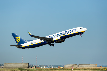 THESSALONIKI, GREECE- MAY 25, 2014: A plane from the airline Ryanair takes off in Greece. Ryanair is Europe's favorite low fares airline, operating flights connecting 186 destinations in 30 countries.