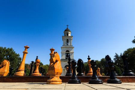 moldovan: CHISINAU, MOLDOVA- AUGUST 21, 2014: Cathedral Park on August 21, 2014 in Chisinau, Moldova. Nativity Cathedral in Cathedral Park is the main Moldovan Orthodox place of worship in Chisinau.