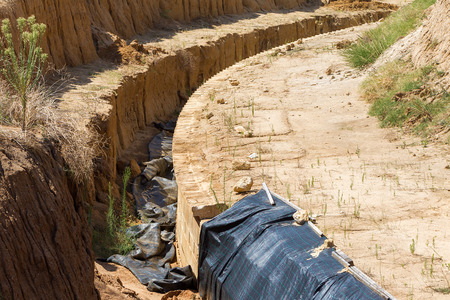 alexander great: AMPHIPOLI, GREECE- AUGUST 12, 2014: Excavations in Amphipolis, Greece. Archaeologists have uncovered what could be the grave of Alexander the Great at a site near ancient Amphipolis. Stock Photo