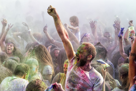THESSALONIKI, GREECE- SEPTEMBER 14, 2014: Participants at the 3rd Colors day in Thessaloniki, Greece. A recreation of the famous Holi festival celebrated in India, took place in Thessaloniki Greece.