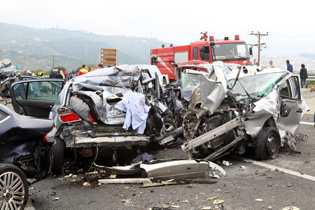shunt: VERIA, GREECE - OCTOBER, 5, 2014:A large truck crashed into a number of cars and 4 people were killed and many were injured in a multi-vehicle collision that occurred on Egnatia Odos.