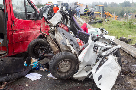 VERIA, GREECE - OCTOBER, 5, 2014:A large truck crashed into a number of cars and 4 people were killed and many were injured in a multi-vehicle collision that occurred on Egnatia Odos. Editorial