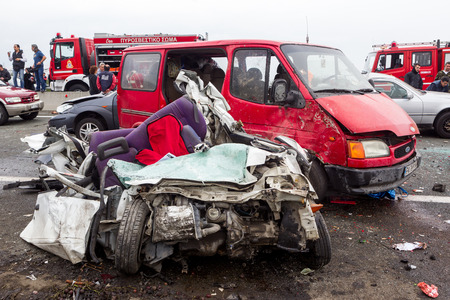 pileup: VERIA, GREECE - OCTOBER, 5, 2014:A large truck crashed into a number of cars and 4 people were killed and many were injured in a multi-vehicle collision that occurred on Egnatia Odos.