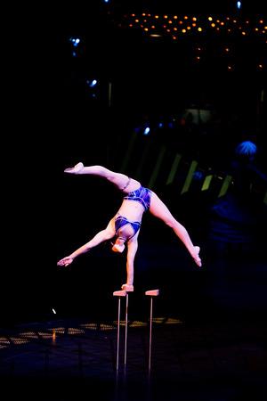 cirque du soleil: THESSALONIKI, GREECE - OCTOBER, 1, 2014: Performers skipping Rope at Cirque du Soleils show Quidam Editorial